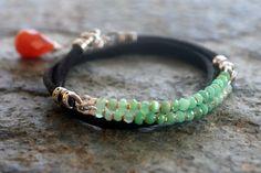 Studio Blue Chrysoprase/Leather Wrap Bracelet w/ Carnelian Drop