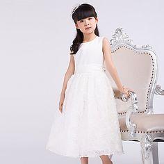 Formal Evening/Wedding Party Dress - White A-line Jewel Tea-length Satin/Tulle – EUR € 56.99