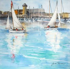 Falmouth Maritime Mueseum - painted in watercolour by Judi Trevorrow and exclusively for Cornwall Art Galleries. Available to buy for mounted or framed. A Level Art, Falmouth, Watercolour Tutorials, Naive Art, Funny Art, Painting Inspiration, Sailing Ships, Flower Art, Landscape Paintings