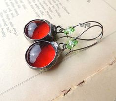 Red glass earrings  hippi boho romantic nostalgic by MARIAELA, $29.00