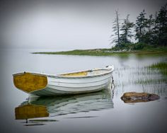 White Dory Boat on a Misty Morning  a Fine Art by RandyNyhofPhotos, $12.00