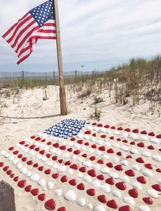 Someone went all out on some beach somewhere to celebrate with two American Flags! Original source unknown. Link goes to DIY American Flag Ideas with a Coastal Theme, featured on Completely Coastal. Happy 4 Of July, Fourth Of July, Independance Day, Flag Photo, Old Glory, Beach Crafts, Pebble Painting, Shell Crafts, God Bless America