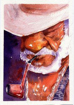 Preto Velho by Beto França, via Flickr Papa Legba, African American Art, African Art, Smoking Images, Orisha, Black Artists, Future Tattoos, Beautiful Artwork, Love Art