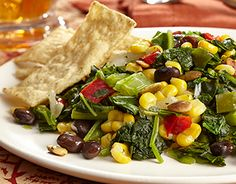 Southwest Kale & Corn Salad -  Heat oil in large nonstick skillet and cook Southwest Blend, stirring occasionally, 5 minutes. Add Kale and season with salt and pepper. Arrange on salad greens and sprinkle with pumpkin seeds. Garnish with tortilla strips. Can be served warm or room temperature.