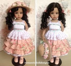 """Smocked ensemble, outfit, dress for 13"""" Dianna Effner Little Darling doll #romanticdolldesigns"""