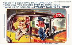 """One of several Bamforth """"Comic"""" postcards that I've collected over the years. This one shows an amorous couple in the back of a 1940s taxi cab, and the driver who has misunderstood things..."""