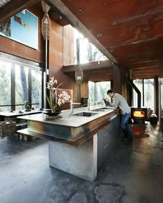 CREATE a space for life. -- Per Day Bushfire House - Grand Designs Australia one of the few Grand Designs houses that actually look nice Industrial Kitchen Design, Industrial House, Industrial Interiors, Industrial Kitchens, Industrial Stairs, Industrial Windows, Industrial Bedroom, Industrial Shelving, Industrial Office