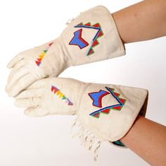 Vintage Leather Gauntlets with Native American Beading. Find at luckystargallery.com $160