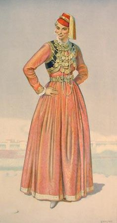 NICOLAS SPERLING Woman's Town Dress (Macedonia, Kastoria) 1930 lithograph on paper after original watercolour Greek Traditional Dress, Traditional Outfits, Costume Shop, Folk Costume, Greek Dancing, Corset, Costume Collection, Ethnic Dress, Greek Clothing