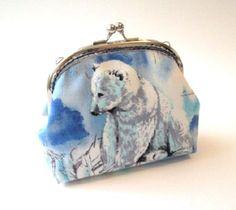 Polar bear frame coin purse blue white cotton by DesignBySaralie
