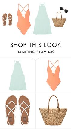 """""""beach day (request)"""" by beccagh7 on Polyvore featuring RVCA, Tart, Billabong, Straw Studios, Rare London and request"""