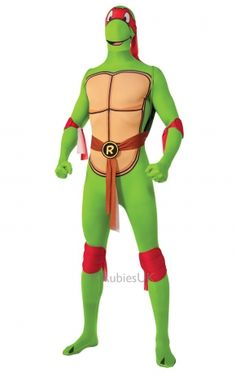 Superhero Fancy Dress Costumes: The bad boy of the four! Raphael was one fearless ninja turtle! Dressed in red bandanas and carrying a seis, he was one dude not to be messed with. You can look like this ninja turtle in this TMNT Raphael Costume.
