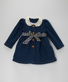 Take a look at this Navy Denim Lace Belted Dress - Toddler & Girls by Sweet Charlotte on #zulily today!