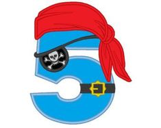 Cute Pirate Birthday Numbers , machine embroidery applique designs 6 inches