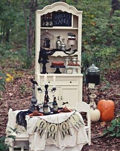 44 awesome rustic halloween decor ideas 44 rustic halloween decor ideas with outdoor wooden chair table cupboard pumpkins and candleholder - Rustic Halloween Decorations