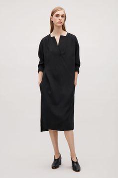 COS image 1 of Long smock shirt dress in Black