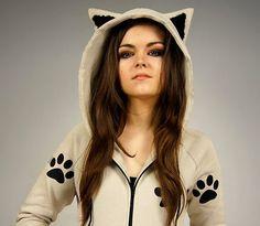 Kitty cat hoodie orejas patas kawaii beige