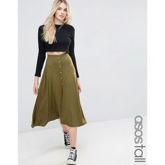 ASOS TALL Button Through Midi Skirt (175 HRK) ❤ liked on Polyvore featuring skirts, green, green high waisted skirt, tall skirts, jersey skirt, button skirt and calf length skirts