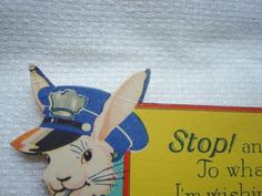 Vintage Art Deco Easter Greeting Card  Bunny Policeman Uniform Whistle Flowers FOR SALE • $4.99 • See Photos! Money Back Guarantee. An old Easter greeting card featuring a rabbit in a policeman uniform, he is blowing a whistle; there are spring flowers in the background. There is no envelope; there are 201788608771