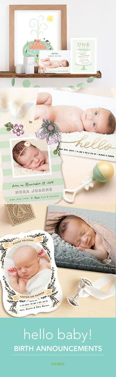 Creative and cute birth announcements from Minted.com - baby announcements