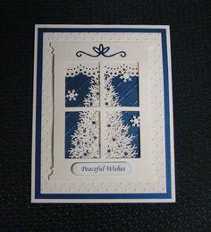 Christmas Window Handmade Card- Winter, Tree, with Embossing