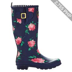 Joules Peony Print Wellington Boots, Navy