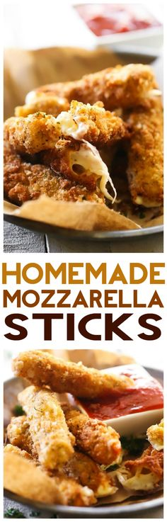 Homemade Mozzarella Sticks... these are easy and absolutely DELICIOUS! The crispy outside filled with ooey gooey cheese makes for one addictive and tasty appetizer!