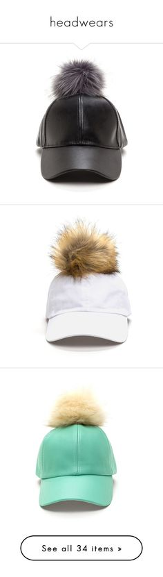"""""""headwears"""" by mayirra ❤ liked on Polyvore featuring accessories, hats, black, ball cap hats, baseball hats, faux leather baseball hat, pom pom hat, pom pom baseball hat, white and white cap"""