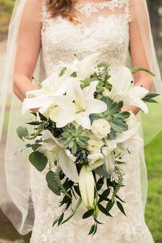 My bridal cascade bouquet using Casablanca lilies and succulents ...