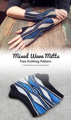 Mixed Wave Mitts - Free #knitting pattern by Knitting and so on