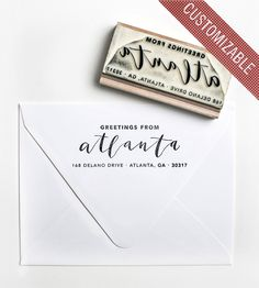 Custom Greetings From Address Stamp by Yes Ma'am Paper + Goods on Scoutmob Shoppe. Custom calligraphy of your city or hood, ready to stamp.