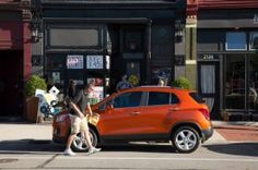The new Chevrolet Trax, on sale January 2015, hits Detroit for initial advertisements - seen outside Slows Bar-B-Q