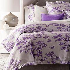Surya The Crane Florence Broadhurst Reversible Duvet Cover Set In Lavender/ White