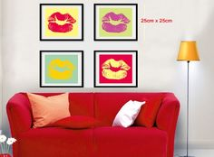 Walplus Colorful Lips Print Canvas Pictures Wall Stickers Art Decals Paper Decor Mural: Amazon.co.uk: Kitchen & Home