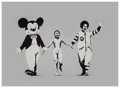 Banksy is an England-based graffiti artist. His satirical street art and subversive epigrams combine irreverent dark humor with graffiti done in a distinctive Banksy Graffiti, Street Art Banksy, Graffiti Artwork, Bansky, Pop Art, Mickey Mouse, Guerrilla Marketing, Art Plastique, Photomontage