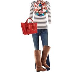 Stripes, scarves, boots, red bag = perfect