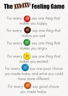 M&Ms Feelings Activity. Great for group counseling or a lesson on feelings. Keep positive! Can substitute Skittles as well (allergy-free)
