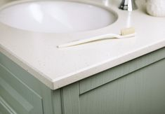 20mm solid surface detailing in ivory quartz from Utopia Bathrooms.