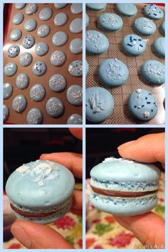 Coconut flavored macarons w/Ghirardelli semisweet choc and crushed almonds. (Almond joy inspired macarons)