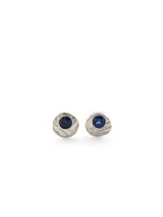 recycled silver and lab-grown blue sapphire stud earrings - sharon z jewelry