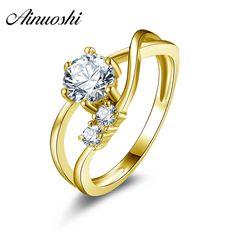 AINUOSHI 10k Solid Yellow Gold Engagement Ring Fashion Wedding Bague Customized Design Round Cut Women Simulated Diamond Rings