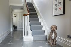 Farrow and Ball Cornforth white hallway and Strong White woodwork: Farrow and Ball Cornforth white Colour study on Modern Country Style. Click th… – hallway Cornforth White Hallway, Cornforth White Farrow And Ball, Cornforth White Living Room, Cornforth White Kitchen, Grey Hallway, Tiled Hallway, Hall Tiles, Modern Hallway, Hall Flooring