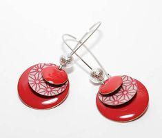 Boucles d'oreilles dormeuses sequins rouges et sequins Washi, Bracelets, Washer Necklace, Creations, Boutique, Etsy, Jewelry, Handmade, Drop Earring