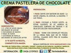Crema pastelera de chocolate. Receta