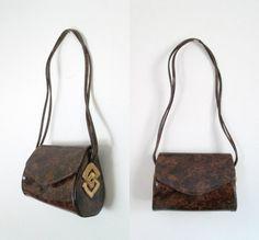 Designer Patent Leather Shoulder Handbag by looseendsvintage