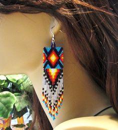 Native American Inspired Turquoise and Silver Beaded Fringe Dangle Earrings/Southwestern Earrings/Tribal Jewelry/Traditional Jewelry/Boho