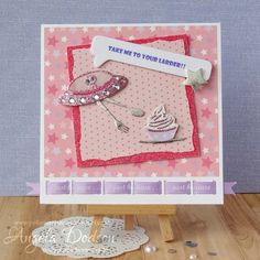 A fun card using the Space dies by design member Angela