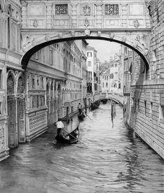 #venise #venice #bridgeofsighs #pontdessoupirs #italy #gondola #canals #graphitedrawing #art #pencil #drawing #artist #pencildrawing #graphitedrawing #realisticart #realism #blackandwhite #illustration #artistsonpinterest #picoftheday #bnwportraits #portraitdrawing #pencilart #graphite #realisticdrawing Palazzo, Prison, Perspective Drawing, Italy, Love Drawings, Pencil Art, Sculpture, Painting, Venice