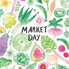 ink, watercolour, vegetable, fruit, flowers, pattern