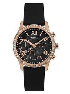 4d48dd704 Rose Gold-Tone and Black Multifunction Watch at Guess
